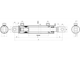 GA30601000GA -Hydrauliek cilinder dubbelwerkend met Gaffel 30x60
